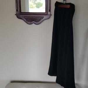 100% linen black maxi skirt S